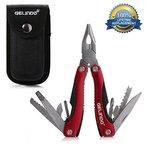 Gelindo Premium-Taschen-Multitool mit Scheide, Messer, Zangen, Säge & More (rot)