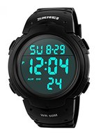 Rtimer Mens Military Digital Outdoor-Sport-Uhr mit Modedesign Elektronische LED-Display, 5 ATM wasserdicht , Alarm - Schwarz