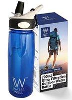Wasserflasche für unterwegs - Reinigt Wasser durch die Beseitigung von 99,9% aller Bakterien & Parasiten im Wasser. Ultrafilternder Strohhalm und Flasche - Filtert 1500 Liter - Wasserfilter mit Hohlfasermembran und Aktivkohlefilter - Für internationale Reisen, Sport, Camping, Survival Training und die Natur - Tragbar, wiederverwendbar - BPA-freies Tritan - Lebenslange Garantie. Water Well 650ml