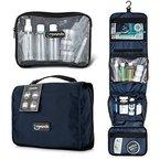 Travando ® Premium Kulturtasche zum Aufhängen + Transparente Reißverschlusstasche / Kosmetiktasche + 7 Flüssigkeiten-Behälter | Faltbarer Kulturbeutel für Herren , Damen (Marineblau)