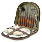 Picknick Set für 2 - Kompakter Ranzen um den Korb oder Tasche hineinzutun. Mit Besteck, Käsebrett, Weinöffner, Servietten