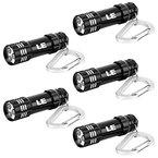 LE 5er Pack Mini Taschenlampe, Schlüsselanhänger LED Notfallleuchte, batteriebetrieb, Schwarz
