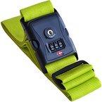 Koffergurt farbig TSA mit Zahlenschloss - Gepäckgurt / Kofferband grün extra lang für den Urlaub - von Globeproof®