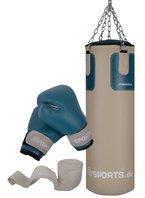 ScSPORTS DG04 Box-Set für Erwachsene Boxsack Boxhandschuhe Boxbandagen 25 kg 80 cm gefüllt Kunstleder Stahlkette