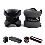 FOURSCOM® 2er Set 2x 1kg Neopren Gewichtsmanschetten Laufgewichte für Hand- und Fußgelenke ( Arm und Bein ) Gewichte Grau