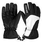 Skihandschuhe, HiCool Ski-/Snowboard-Handschuhe Sporthandschuhe Winterbekleidung Thermohandschuhe für Herren Damen (Weiß/Schwarz, M)