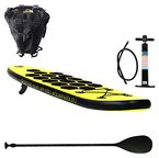AQUAPARX SUP 229 x 60 x 10 cmAP Inflatable ISUP Kinder Junior Aufblasbar Alu-Paddel Aqua Rucksack Pumpe Stand Up Paddle Board Set, Gelb/Schwarz