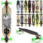 """Terena® Longboard 105x24 Long Board """"The Owl"""" Skateboard Surfboard komplett medium Flex Longboards 00018(7 - 00018 - The Owl)"""