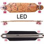 FunTomia® Longboard Skateboard Board Skaten Cruiser Komplettboard mit Mach1® High Speed Kugellager (Modell Freerider - Farbe Phrase mit LED)