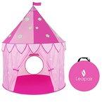 WolfWise Spielzelt Mädchen Kinderzelt Zimmerzelt Prinzessin drinnen Spielschloss 120 cm D x 140 cm H mit Tragetasche Rosa