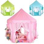 KIDUKU® Kinderspielzelt Spielschloss Prinzessinenschloss Spielzelt Bällebad Spielhöhle mit Hängenetzen, in 3 Farbvarianten (Pink)