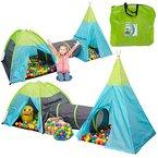 Spielset Kinderspielzelt Pocahontas inkl. 200 Bällebadbällen | Spielzelt Spielhaus für Jungen und Mädchen | Kinder-Bällebad-Zelt mit Spielbällen | inkl. Tragetasche