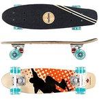 FunTomia® Mini-Board Skateboard aus kanadischem Ahornholz oder Kunstoff inkl. ABEC-11 MACH1® Kugellager (Mini-Board aus 7-lagigem Ahornholz in Orange Skater / petrol Rollen mit LED)