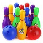 Bowlingkugel, Finer Shop Mehrfarbig Cartoon Pädagogisches Spielzeug Bowling Ball Kegelspiel für Kinder (12er/Set: 10 Kegel+2 Kugeln)