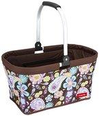 livante Einkaufskorb CALIFORNIA - praktischer Shopper u. Picknickkorb, braun mit Blumenmuster