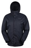 Mountain Warehouse Torrent Herren wasserdichte atmungsaktive jacke mantel mit Kapuze warme Outdoorjacke mantel Freizeit Sport Wander Walking Camping Schwarz XXX-Large