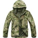 Reebow Gear Militaer Taktische Softshell Jacke outdoor Fleece Kapuzenjacke Gruen ATACS Camo L