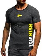 LEIF NELSON GYM Herren Fitness T-Shirt Trainingsshirt Training LN06279; Grš§e M, Anthrazit-Gelb
