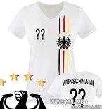 Comedy Shirts - WELTMEISTER 2014 | M1 | VORNE + HINTEN | WUNSCH - Damen V-Neck T-Shirt - Weiss / Schwarz-Rot-Gelb Gr. S