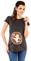 Zeta Ville -Damen Umstands Shirt Oberteil Top witzige fussball Baby Motiv - 507c (Graphit Melange, EU 36/38)