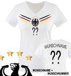 Comedy Shirts - DEUTSCHLAND WELTMEISTER 2014 - WUNSCH - Damen V-Neck T-Shirt - Weiss / Schwarz-Rot-Gelb Gr. L