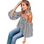 Longra Fashion weg von der Schulter Beiläufige lose T-Shirt übersteigt Blusen (S, Schwarz)