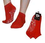 Pilates, Yoga, Barre, Kampfsport, Fitness, Tanz. Anti-Rutsch, Stürze Prävention Grip-Socken (Rot / Weiß) Grip Socks