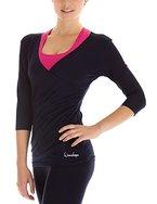 Winshape Damen 3/4-arm Shirt in Wickeloptik Fitness Yoga Pilates Freizeit, night blue, L, WS3