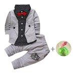 Bekleidung Longra Kinder Jungen Baby Gentry Kleidung Set formaler Party Taufe Hochzeit Smoking Bogen Anzüge & Sakkos (12 Monate -4Jahre) (75CM 12Monate)