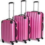 TecTake 3 teiliges Reisekofferset Trolley Hartschalenkoffer Rollkoffer 4 Rollen 360 Grad -diverse Farben- (Pink)