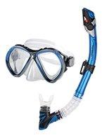 Aquazon Profi Schnorchelset BARCELONA, Schnorchelbrille und Schnorchel, für Erwachsene, blau