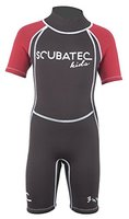 "SCUBATEC 3mm Kindershorty ""Kids Wave"", schwarz-rot, 104-110 (XXS)"