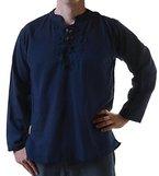 Fischerhemd Kurtha Ethno Fishermen Hemd Hippie Nepal, Größe/Size:XL;Farbe:Blau