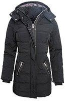 Langer Damen Winter Stepp Mantel Parka Jacke Schwarz B173 XS-XL [B173-Schwarz-Gr.M]