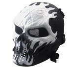 Covermason Halloween-Maske Airsoft Paintball Voll Gesicht Schädel-Skeleton CS Maske Tactical Military Mask (Weiß)