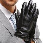 Harrms Herren Winter Handschuhe Echt Leder Touchscreen Gefüttert mit Kaschmir Lederhandschuhe, Schwarz XL (mit Geschenk Verpackung)