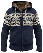 Norweger Strickjacke m. Fell blau - M