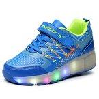 Skateboard Schuhe Turnschuhe Jungen und Mädchen Wanderschuhe neutral Kuli Rollschuh Schuhe mit LED-Skateboard Lichter blinken Schuhe Räder Schuhe (34, Blau)