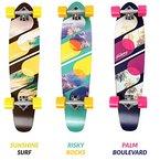 Physionics Longboard Skateboard im Design Palm Boulevard/ im Design Risky Rocks/ im Design Sunshine Surf (Palm Boulevard)