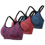 DAS Leben Sport BH Yoga BH starker Halt mit Polster ohne Bügel (3 Stücke) (L, orangerot,fuchsien,blau)