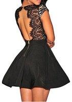 Zeagoo Damen Sexy V-Ausschnitt Spitzenkleid Floral Rückenfrei Cocktailkleid Partykleid Skaterkleid (EU 38/ M, Schwarz-1)