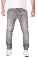 Yazubi Herren Sweathose in Jeansoptik Slim Fit, grey used (10060), W32/L34