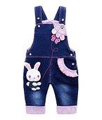 Baby Mädchen Denim Overall Jeans Hose mit Hosenträger Kinder Baumwolle Latzhose Kaninchen Butterfly - 90
