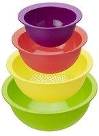 """Rotho Küchenset """"Caruba"""" - 4-farbiges Set aus 3 Rührschüsseln und 1 Küchensieb aus Kunststoff (PP), Inhalt 1-4,8 Liter, Ø von 18,5-30cm - spülmaschinengeeignet"""