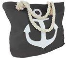 Sonia Originelli Tasche Shopper Strandtasche Anker Kordel Seil Seemann Maritim neu T021-UNI-AN-RV (Dunkelgrau)