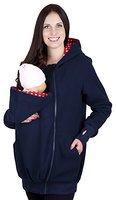 Mija - 3in1 Tragejacke, Umstandsjacke / Fleece Tragepullover für Tragetuch für Babytrage 4018A (XXL / 44, Dunkeblau)