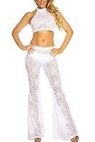 Damen Weiß Sheer Spitze Neckholder-Top breit Bein Hose Set, Hosen-Set, Jumpsuit Catsuit Clubwear Kleidung Größe M UK 10EU 38