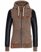 ZANZEA Damen Winter Zip Langarm Hoodie mit Kaputze Pullover Strickjacke Jumper Top Braun EU 34-36/Etikettgröße S