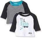 Twins Baby-Jungen Langarm T-shirts im 2er Pack, Mehrfarbig (Weiss/Marine 810012), 74