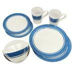 Fridani MDD Dinnerware - 8-teiliges Melamine Geschirr, 2 Becher, 4 Teller in 2 Größen, 2 Schüsseln